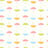 Autumn seamless pattern with flat umbrellas Stock Photo