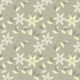 Autumn seamless pattern with flowers and leaves Stock Image