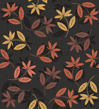 Autumn seamless pattern with flowers. And leaves Royalty Free Stock Image