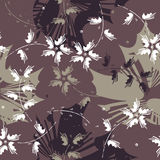 Autumn seamless pattern with flowers and leaves Royalty Free Stock Image