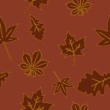 Autumn seamless pattern with foliage Stock Image