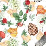 Autumn seamless pattern with forest theme. Watercolor illustration, hand-drawing. royalty free stock photo