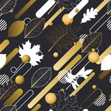 Autumn  seamless pattern in golden, black and white colors. Outline fall leaves and motion geometric shapes. Abstract motion nature background Stock Image