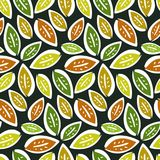 Autumn seamless pattern with hand drawn leaves Stock Images