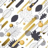 Autumn  seamless pattern with hand drawn outline fall leaves and motion geometric shapes. Abstract dynamic nature background Stock Photos