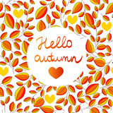 Autumn seamless pattern with hand written lettering HELLO AUTUMN inside leaves background Stock Image