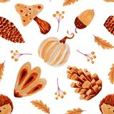 Autumn seamless pattern with hedgehod leaves and mushroom. royalty free stock photography
