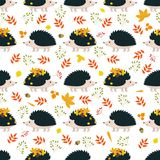 Seamless pattern with hedgehogs and leaves vector illustration