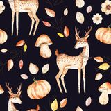 This autumn seamless pattern included deer, autumn leaves,branches,flowers,mushrooms and pumpkins. Stock Image