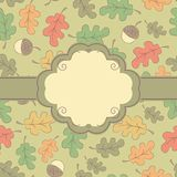 Autumn seamless pattern with label Stock Image