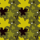 Autumn seamless pattern. Autumn leaf fall. Seamless pattern with colorful maple leaves. Raster clip art Royalty Free Stock Photo