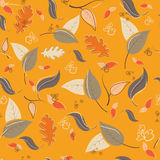 Autumn seamless pattern with leaves and branches. Vector illustration Royalty Free Stock Image
