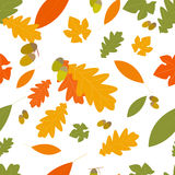 Autumn seamless pattern with leaves of different trees Royalty Free Stock Image