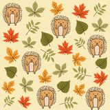 Autumn seamless pattern with leaves and hedgehogs vector illustration