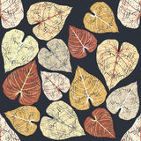 Autumn seamless pattern with leaves isolated  on blue background Royalty Free Stock Photography