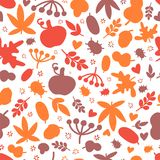 Autumn Seamless pattern with leaves, oak and bugs for bold design collection. Modern art style.  Stock Images