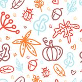 Autumn Seamless pattern with leaves, oak and bugs for bold design collection. Modern line art style.  Stock Images