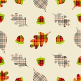 Autumn seamless pattern with leaves in plaids print. Cute vector background can be used for fabric, gift wrapping paper, wallpaper. Card, poster, invitation vector illustration
