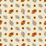 Autumn seamless pattern with leaves in plaids print. Cute vector background can be used for fabric, gift wrapping paper, wallpaper. Card, poster, invitation stock illustration