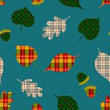 Autumn seamless pattern with leaves in plaids print. Cute vector background can be used for fabric, gift wrapping paper, wallpaper. Card, poster, invitation royalty free illustration