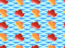 Autumn seamless pattern with leaves and sky composed of red, yellow and blue triangles. Vector seamless pattern with autumn leaves and sky composed of red stock illustration