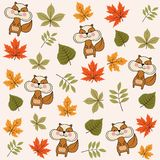 Autumn seamless pattern with leaves and squirrels stock illustration
