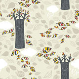 Autumn seamless pattern with leaves. Stock Image