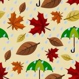 Autumn Seamless Pattern lluvioso Imágenes de archivo libres de regalías
