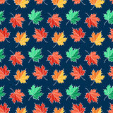 Autumn seamless pattern with maple leaves. Vector background. Stock Images
