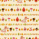 Autumn seamless pattern with mushrooms, berries an. D leaves for textiles, interior design, for book design, website background Stock Photography