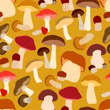 Autumn seamless pattern with mushrooms Royalty Free Stock Photo