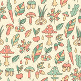 Autumn seamless pattern with mushrooms Royalty Free Stock Photography