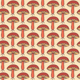 Autumn seamless pattern with mushrooms Stock Images
