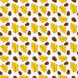 Autumn seamless pattern with oak leaves and acorns. Vector backg Royalty Free Stock Photography