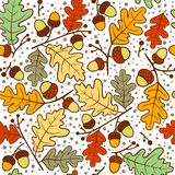 Autumn seamless pattern of oak twigs and acorns. Vector illustration. Royalty Free Stock Photos