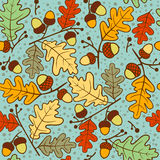 Autumn seamless pattern of oak twigs and acorns. Vector illustration. Cute vector backgrounds in warm retro colors. Seamless pattern can be used for wallpaper Stock Image