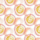 Autumn seamless pattern with orange circle textures. Hand drawn fashion hipster background. Vector for web, print, fabric, textile Stock Image
