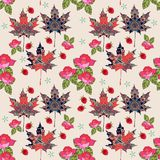 Autumn seamless pattern with ornamental maple leaves, bouquet of roses and raspberries Royalty Free Stock Photos