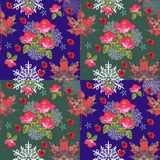 Autumn seamless pattern with ornamental maple leaves, snowflakes, roses Stock Photography
