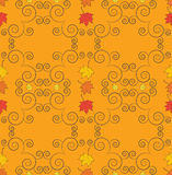 Autumn seamless pattern, ornamental wallpaper, art vector illust. Autumn seamless pattern with falling leaves. Art vector illustration for you design Royalty Free Stock Photos