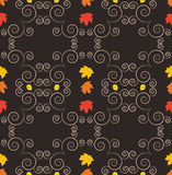 Autumn seamless pattern, ornamental wallpaper, art vector illust. Autumn seamless pattern with falling leaves. Art vector illustration for you design Stock Photos