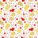 Autumn seamless pattern with red and orange Rowan berries and leaves. Vector illustration. White background vector illustration