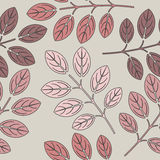 Autumn seamless pattern with red and pink leaves on light grey b Royalty Free Stock Photo