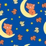 Autumn Seamless Pattern RODE CAT Color Vector Illustration stock illustratie