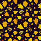 Autumn seamless pattern with rowan berries, leaves, acorn, chestnut. Vector set. Royalty Free Stock Photography