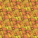 Autumn seamless pattern. Season colors. Orange flowers. Vector background. Royalty Free Stock Images