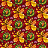 Autumn seamless pattern series. Autumn seamless pattern with leaves and chestnut, fall leaf background. Abstract floral texture. Colorful cartoon. Cute template Stock Photo