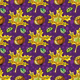 Autumn seamless pattern series. Autumn seamless pattern with leaves and hazelnut, fall leaf background. Abstract floral texture. Colorful cartoon backdrop. Cute Royalty Free Stock Photo