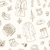 Autumn seamless pattern Set with oak leaves, shoes, clothing and umbrellas. Stock Images