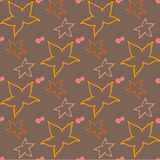 Autumn seamless pattern with silhouettes of leaves and berries Royalty Free Stock Photos